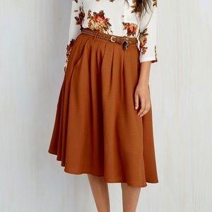 🍂 ModCloth Midi Belt Skirt Pockets Orange Classy